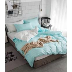 Детское двустороннее постельное белье софткоттон нежно голубое в полоску