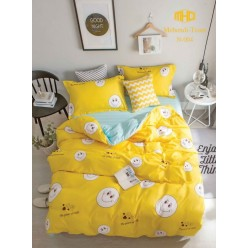 Детское двустороннее постельное белье софткоттон солнечно желтое с смайлами