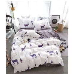 Детское двустороннее постельное белье софткоттон белое с оленями
