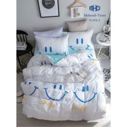 Детское двустороннее постельное белье софткоттон белое с смайлами
