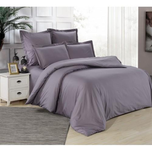 Однотонный комплект постельного белья сатин цвета графит