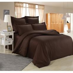 Комплект постельного белья однотонный сатин темно коричневый