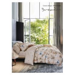 Комплект постельного белья премиум сатин бежевый с цветами