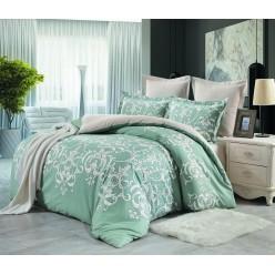 Комплект постельного белья сатин двусторонний нежно зеленый с вензелями