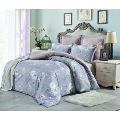 Комплект постельного белья сатин двусторонний дымчато голубой с цветами