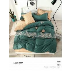Детское постельное белье двустороннее зеленое с желтым