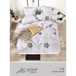 Детское постельное белье двустороннее белое с звездочками