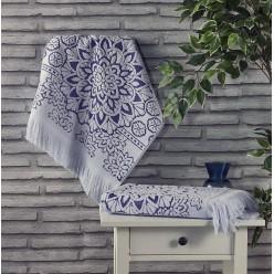 Махровое полотенце из хлопка для лица DURU с орнаментом и бахромой