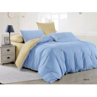 Комплект постельного белья однотонный нежно голубой с бежевым отворотом