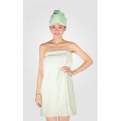 Набор для сауны из микрофибры женский зеленый