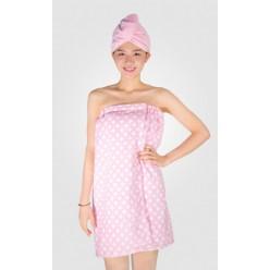 Женский набор для сауны из микрофибры розовый