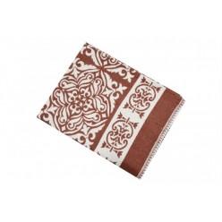 Одеяло хлопковое коричневое с орнаментом 170x205