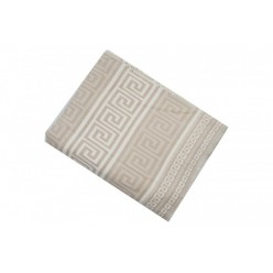 Одеяло хлопковое бежевое с орнаментом