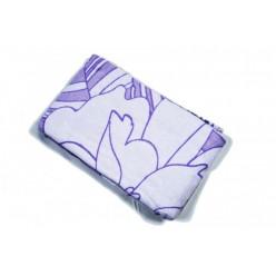 Одеяло хлопковое белое с фиолетовыми узорами