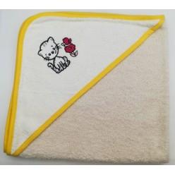 Уголок детский из хлопка махровый с вышивкой Котенок бежевый