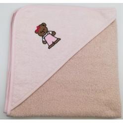 Уголок детский из хлопка махровый с вышивкой Медвежонок бежевый