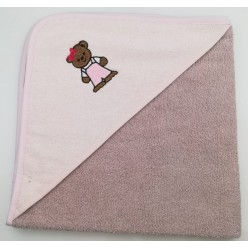 Уголок детский из хлопка махровый с вышивкой Медвежонок коричневый