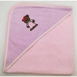 Уголок детский из хлопка махровый с вышивкой Медвежонок светло-розовый