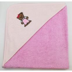 Уголок детский из хлопка махровый с вышивкой Медвежонок темно-розовый