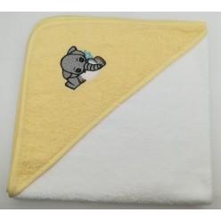 Уголок детский из хлопка махровый с вышивкой Слоненок белый