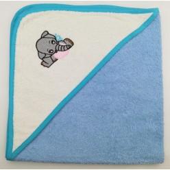 Уголок детский из хлопка махровый с вышивкой Слоненок голубой