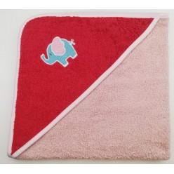 Уголок детский из хлопка махровый с вышивкой Слоненок коралловый