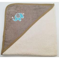 Уголок детский из хлопка махровый с вышивкой Слоненок кремовый