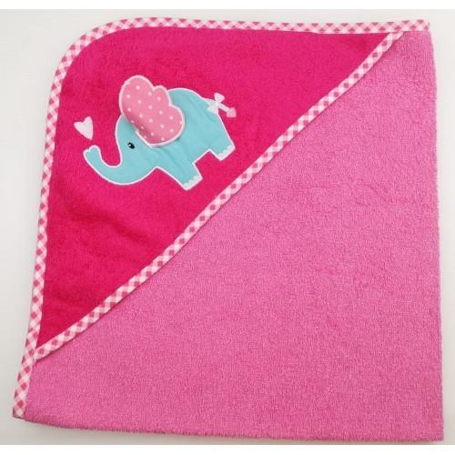 Уголок детский из хлопка махровый с вышивкой Слоненок с сердечком розовый