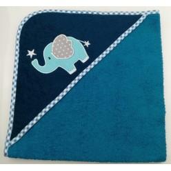 Уголок детский из хлопка махровый с вышивкой Слоненок с сердечком сине-зеленый