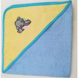 Уголок детский из хлопка махровый с вышивкой Слоненок желто-голубой