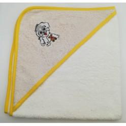 Уголок детский из хлопка махровый с вышивкой Собачка бежевый