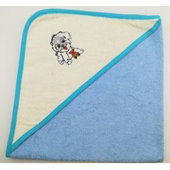 Уголок детский из хлопка махровый с вышивкой Собачка голубой