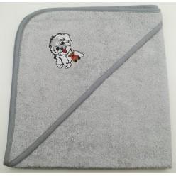 Уголок детский из хлопка махровый с вышивкой Собачка серый
