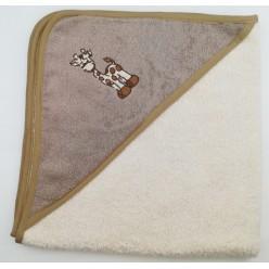 Уголок детский из хлопка махровый с вышивкой Жираф кремовый