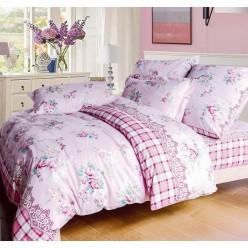 Постельное белье розовое с цветами