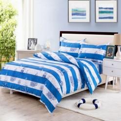 Семейное постельное белье из поплина белое в синюю полоску