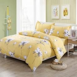 Постельное белье из поплина желтое с белыми цветами