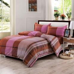 Семейное постельное белье из поплина коричневое в полоску
