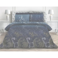 Семейное постельное белье из поплина темно синее млечный путь