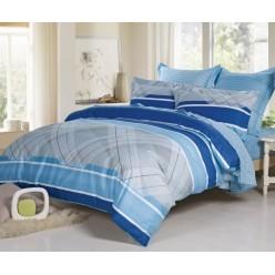 Двустороннее постельное белье сатин сине-голубое