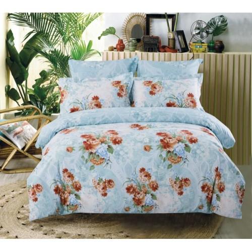 Двустороннее постельное белье сатин нежно-голубое с цветами