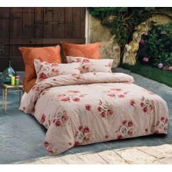 Постельное белье двустороннее из сатина персиковое с цветами