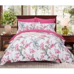 Двусторонний комплект постельного белья сатин розовый с цветами