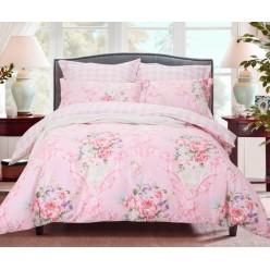 Комплект постельного белья двусторонний сатин нежно розовый