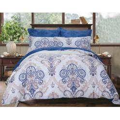 Комплект постельного белья двусторонний сатин белый с синим орнаментом