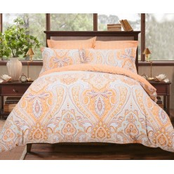 Комплект постельного белья сатин персиковый с орнаментом