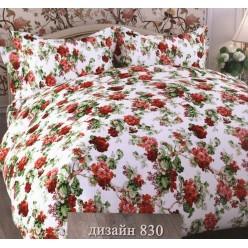 Комплект постельного белья Бязь белый с красными цветами