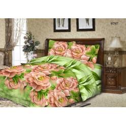 Комплект постельного белья Бязь ГОСТ зеленый с крупными цветами