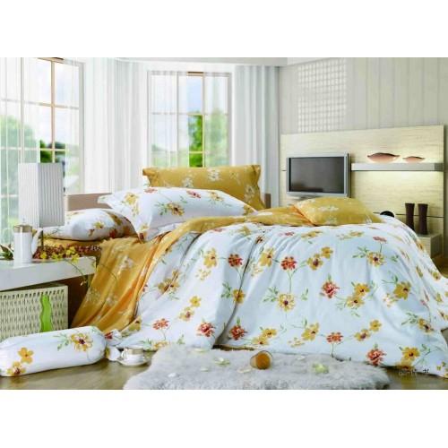 Двустороннее постельное белье сатин желтое с цветами