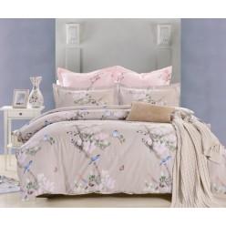Комплект постельного белья сатин бежевый с птичками